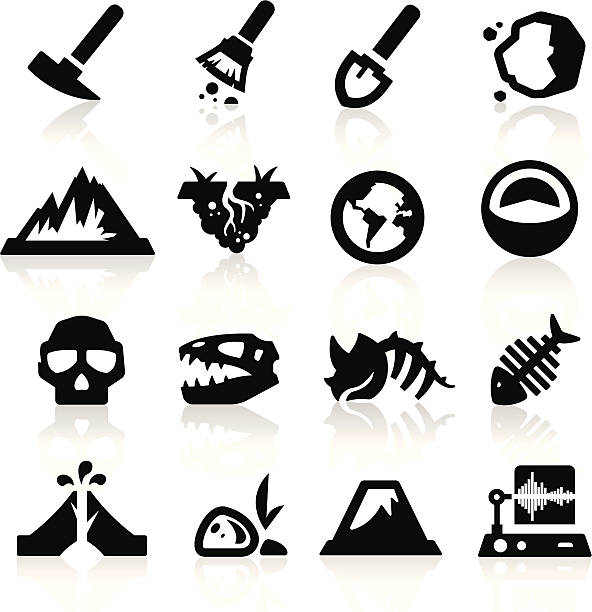 geology icons - dead animal stock illustrations