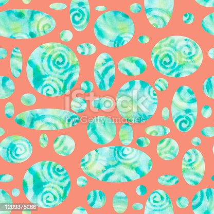 653331540 istock photo Geometric blue-green watercolor ellipses abstract background with splashes, drops. Seamless pattern. 1209378266