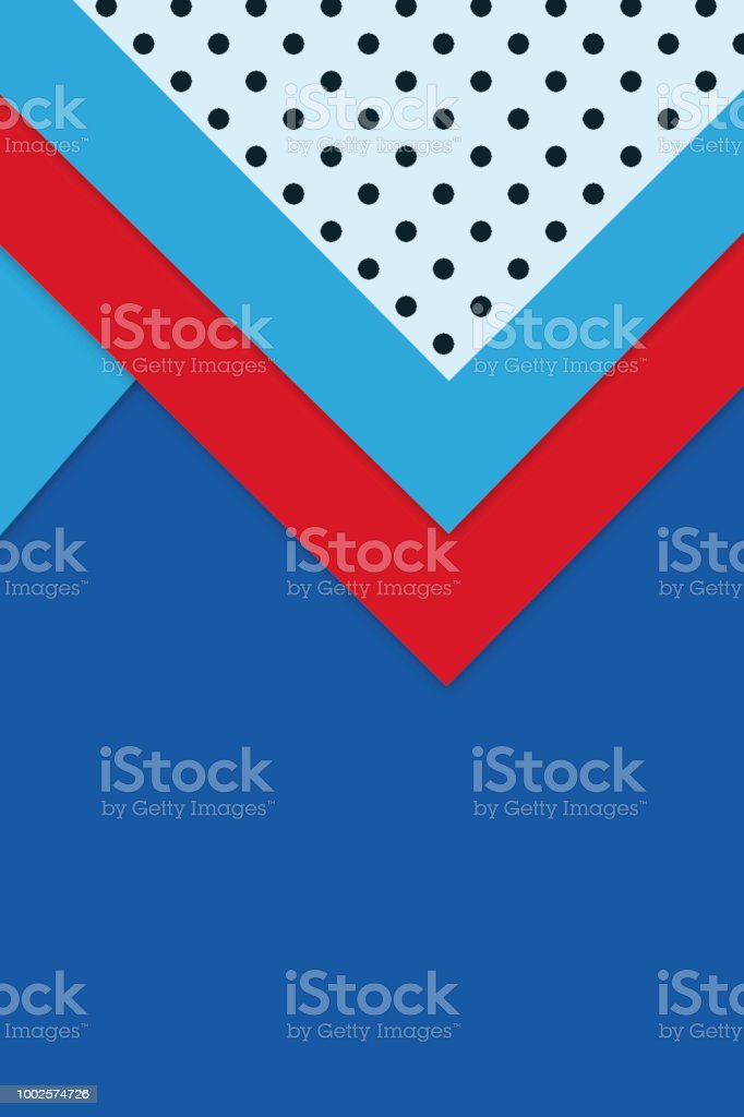Geometric Shapes Background Or Wallpaper In Colorful Red White And Blue