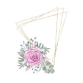 Geometric triangle gold frame with flower arrangement. Pink Rose bouquet with leaves and branches isolated on a white background
