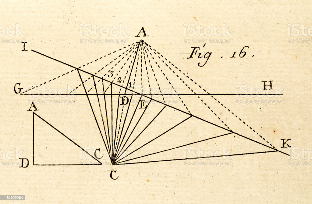 Geometry scheme 18 century technical engraving vector art illustration