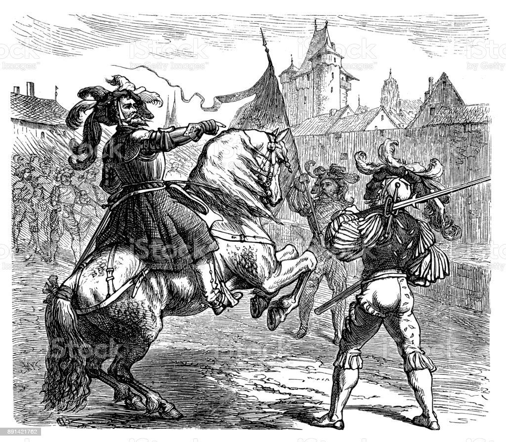 Georg von Frundsberg, 24.9. 1473 - 30.8.1528, German leader of landsquenets, full length, during warlike dispute on horse vector art illustration