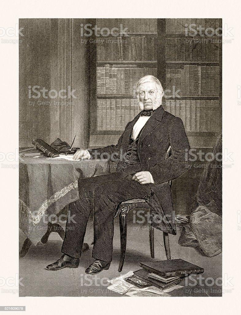 George Bancroft , 19 century portrait vector art illustration