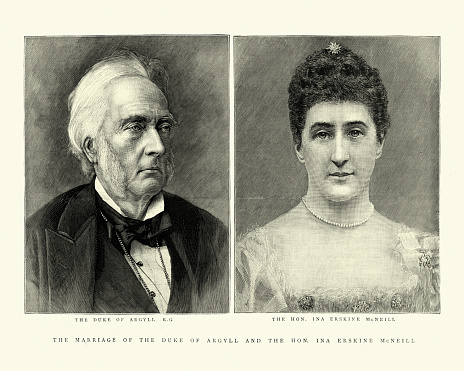 Vintage illustration of George Campbell, 8th Duke of Argyll and third wife Ina Erskine McNeil, 1895 19th Century