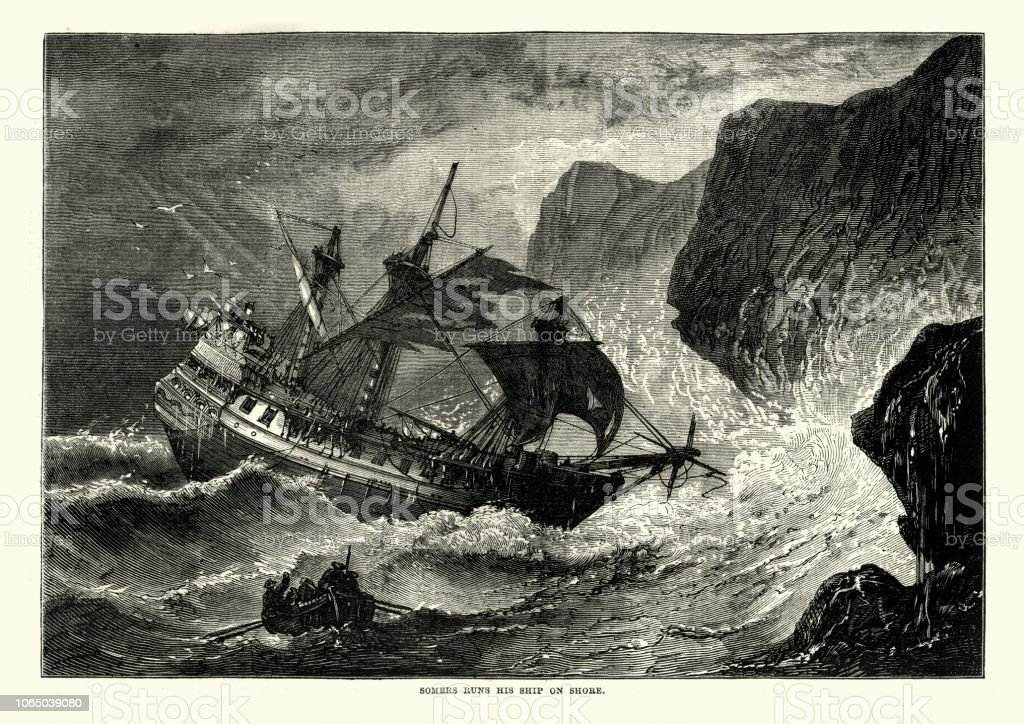 George Somers runs his ship on shore, Bermuda vector art illustration