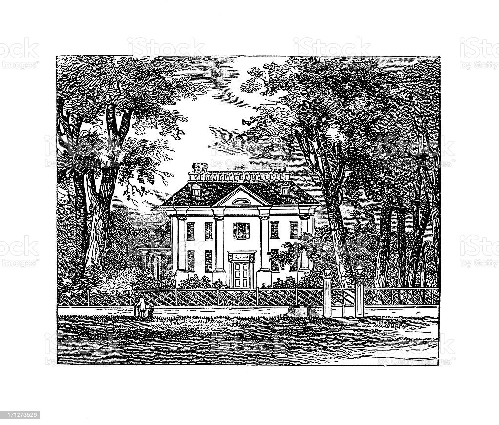 George Wahington's Headquarters at Cambridge, Massachusetts | Historic American Illustrations royalty-free stock vector art