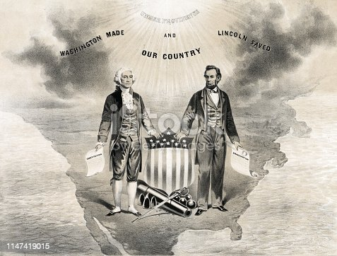 Vintage illustration features George Washington (maker of the country) and Abraham Lincoln (savior of the country) standing on a miniaturized continent of North America.