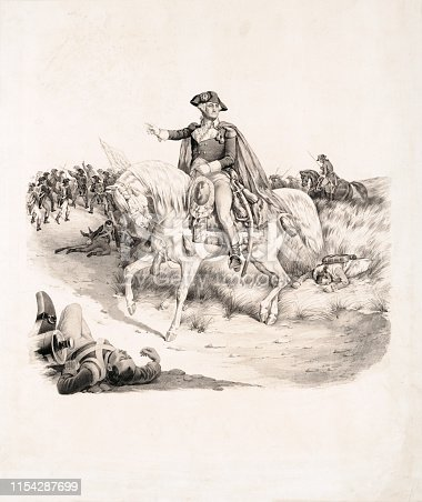 Vintage illustration shows George Washington on horseback at the Battle of Monmouth in 1778. It was fought in New Jersey during the American Revolutionary War.