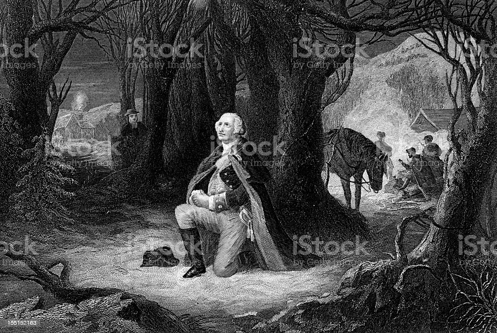 George Washington At Valley Forge royalty-free stock vector art