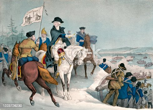 Vintage illustration depicts a scene from the American Revolution where General George Washington prepares to cross the Delaware River with 5,400 troops, hoping to surprise a Hessian force celebrating Christmas at their winter quarters in Trenton, New Jersey.