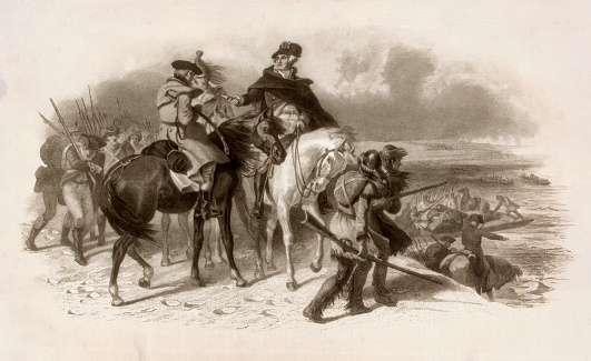 Vintage illustration depicts a 1776 scene from the American Revolution where General George Washington prepares to cross the Delaware River with 5,400 troops, hoping to surprise a Hessian force celebrating Christmas at their winter quarters in Trenton, New Jersey.