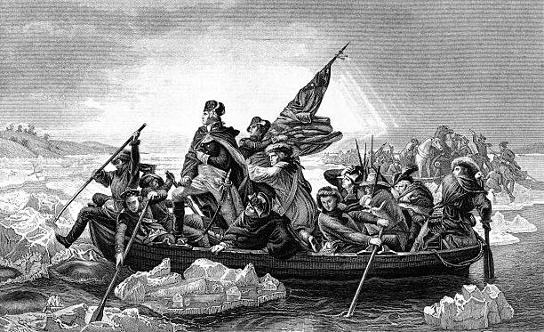 George Washington crossing the River Delaware An engraved illustration of George Washington crossing the River Delaware during the American Revolutionary War, from a Victorian book dated 1886 that is no longer in copyright us president stock illustrations