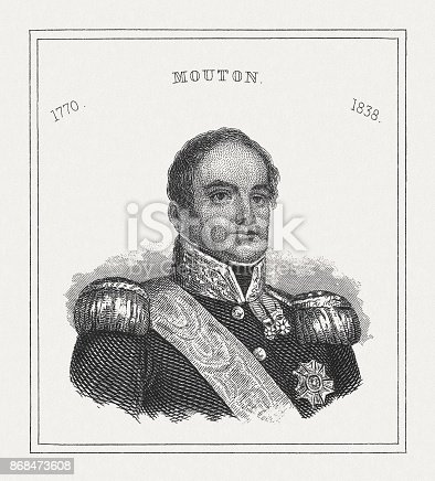 istock Georges Mouton (1770-1838), French marshal, steel engraving, published in 1843 868473608