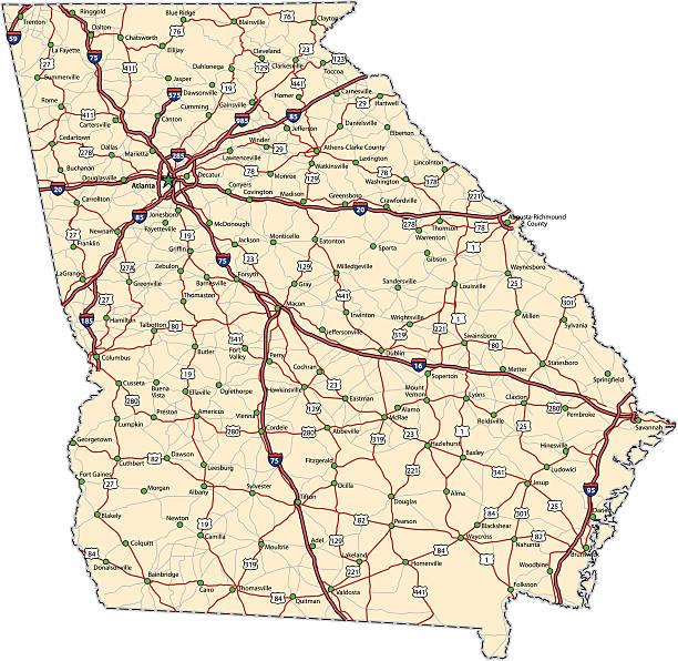 Georgia Highway map (vector) vector art illustration