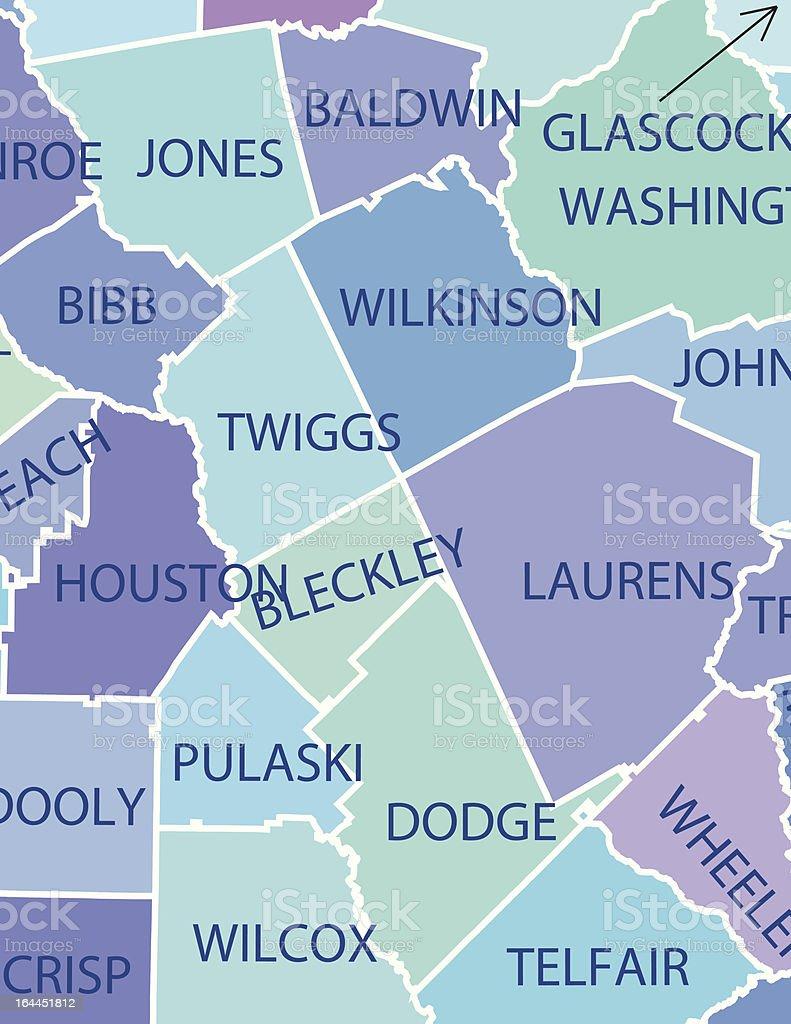 Mapa De Los Condados De Georgia Y Actividades Iconos De Asistencia - Mapa de georgia