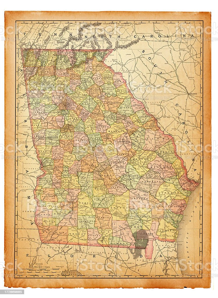 Map Of Old Georgia.Georgia Old Map Stock Illustration Download Image Now Istock