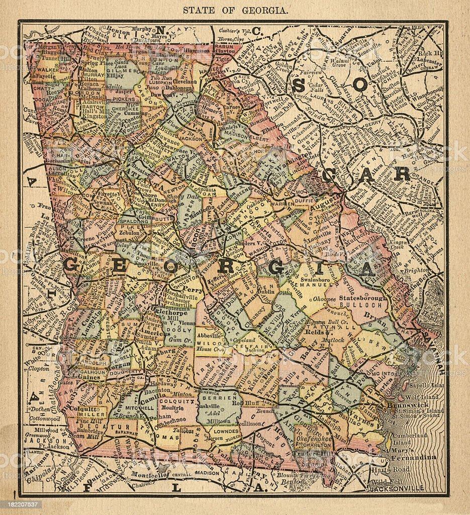 Georgia Usa Antique Maps High Resolution Stock Vector Art - High resolution us map