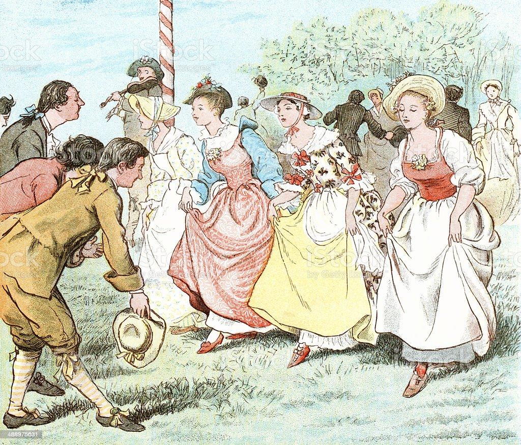 Georgian May Day dancing painting by Randolph Caldecott 1885 vector art illustration