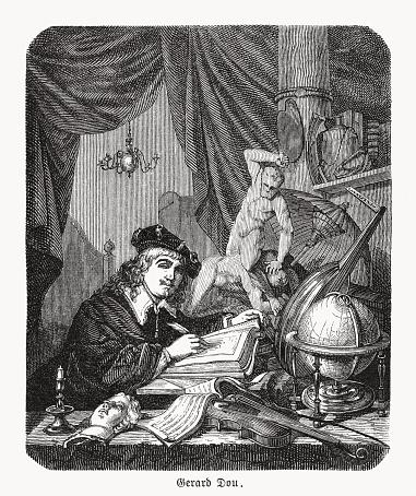 Gerard Dou, Dutch painter (1613-1675), self-portrait, wood engraving, published 1893