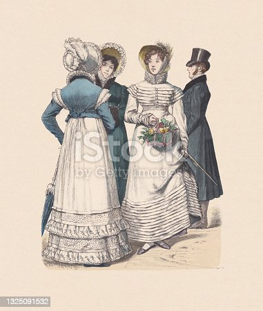 istock German costumes (1818-1819, hand-colored wood engraving, published ca. 1880 1325091532