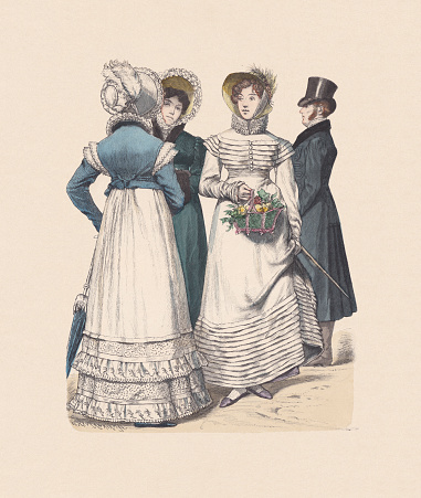 German costumes (1818-1819, hand-colored wood engraving, published ca. 1880