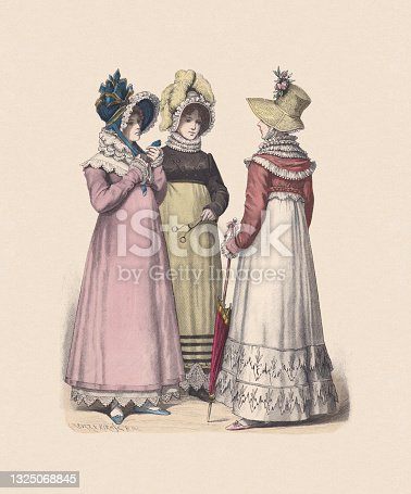 istock German costumes; women fashion (1814), hand-colored wood engraving, published c:1880 1325068845