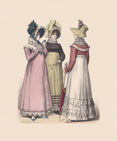 German costumes; women fashion (1814), hand-colored wood engraving, published c:1880