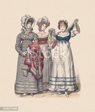 istock German costumes; women fashion (1818), hand-colored wood engraving, published c:1880 1325075480