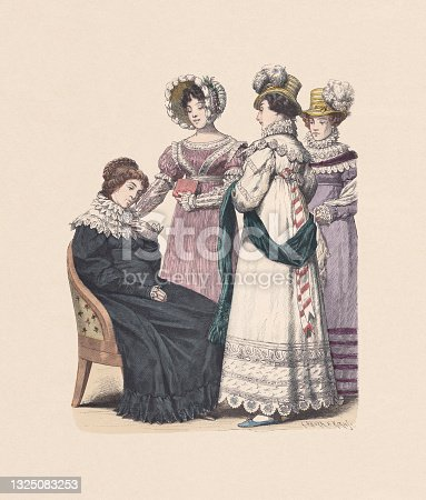 istock German costumes; women fashion (1819), hand-colored wood engraving, published c:1880 1325083253