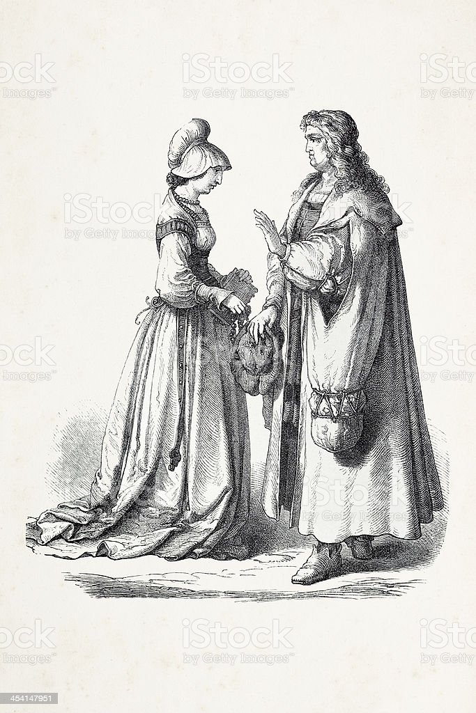 German couple in traditional clothing from 16th century royalty-free german couple in traditional clothing from 16th century stock vector art & more images of 16th century style