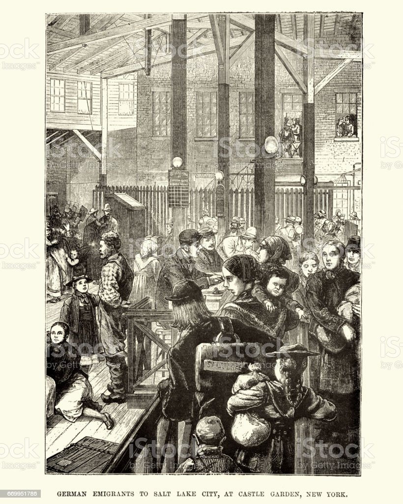 German Emigrants at Castle Gardenm, New York, 19th Century vector art illustration