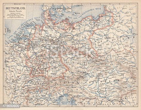 German Empire within the borders of 1871 - 1918. Lithograph, published in 1875.
