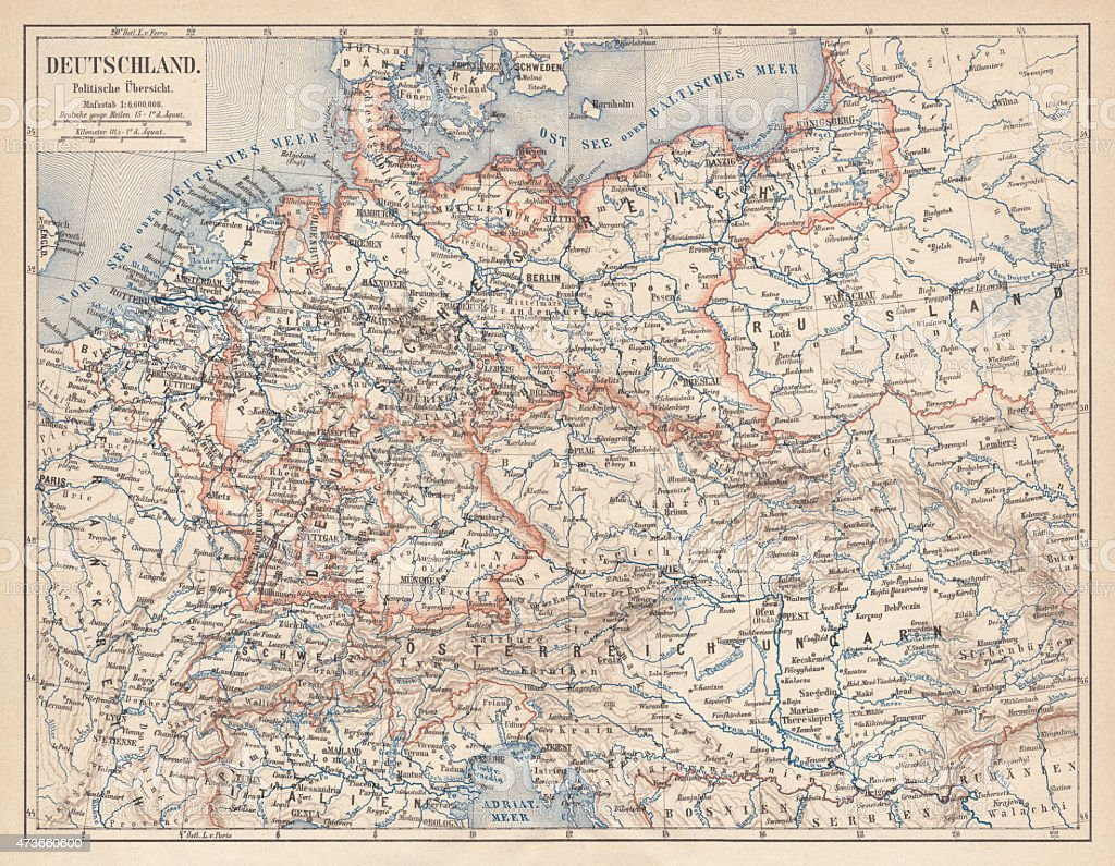 German Empire of 1871-1918, lithograph, published in 1875 vector art illustration