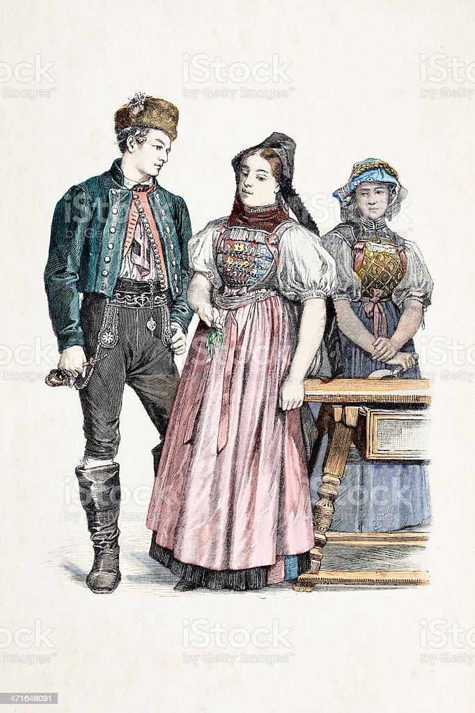 German habitants of Baden from 1870 royalty-free stock vector art