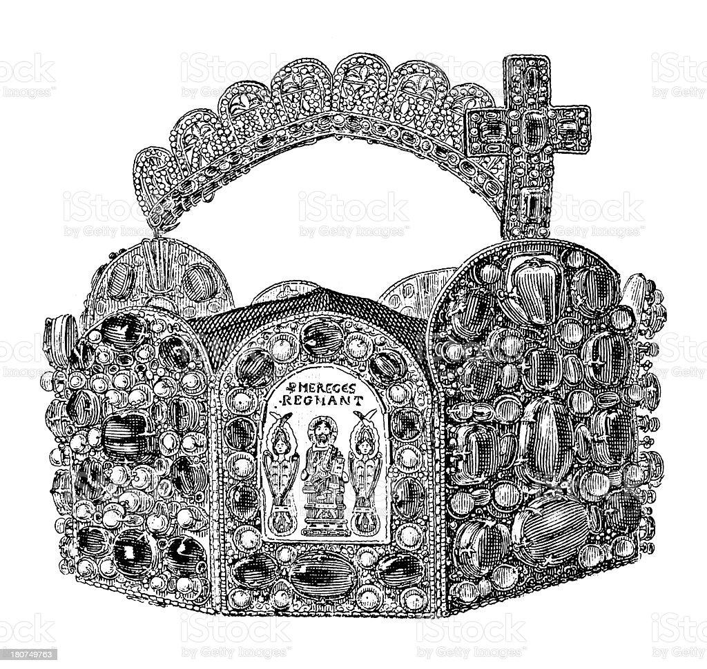German Imperial crown (antique wood engraving) royalty-free stock vector art