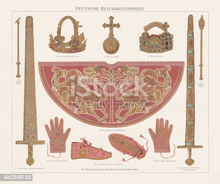 istock German Imperial Insignia (Imperial Treasury, Vienna), lithograph, published in 1897 942346134