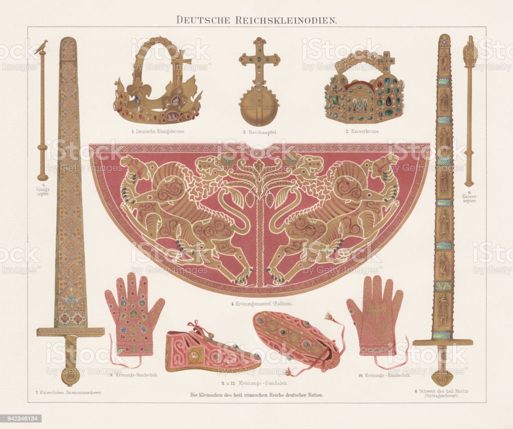 German Imperial Insignia (Imperial Treasury, Vienna), lithograph, published in 1897 vector art illustration
