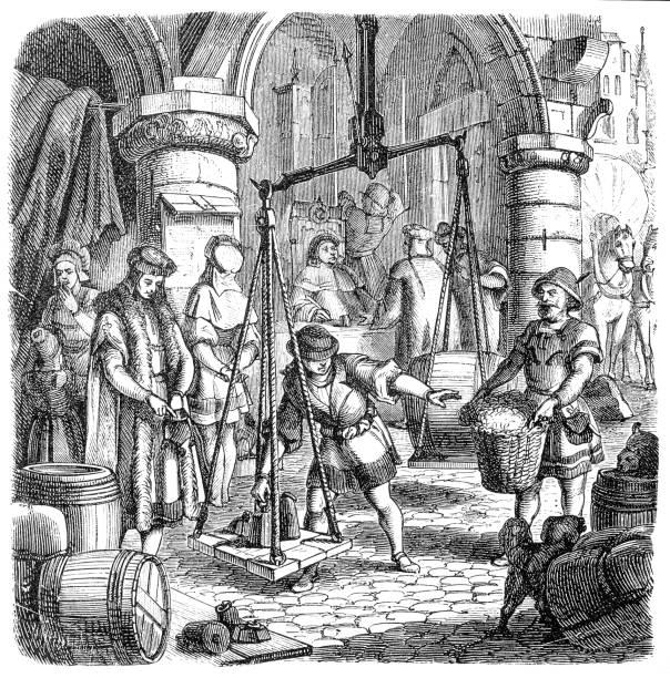 German merchants vector art illustration