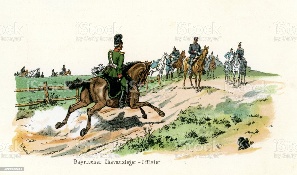 German Military - Bavarian Cavalry Officer royalty-free german military bavarian cavalry officer stock vector art & more images of 1880-1889