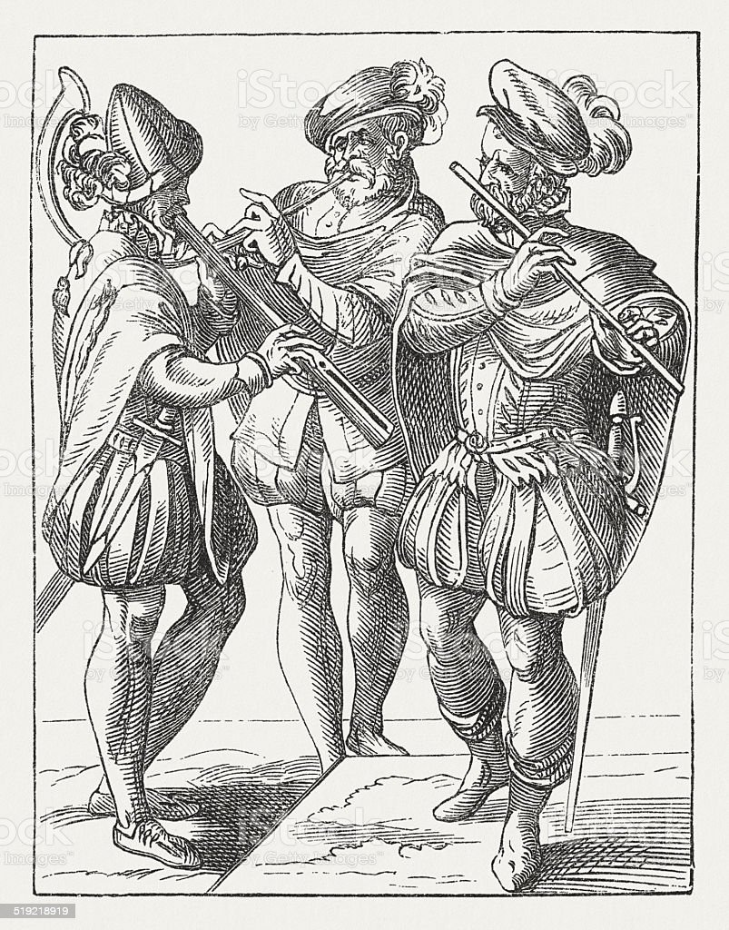 German musicians (1568), wood engraving after Jost Amman, published 1877 vector art illustration