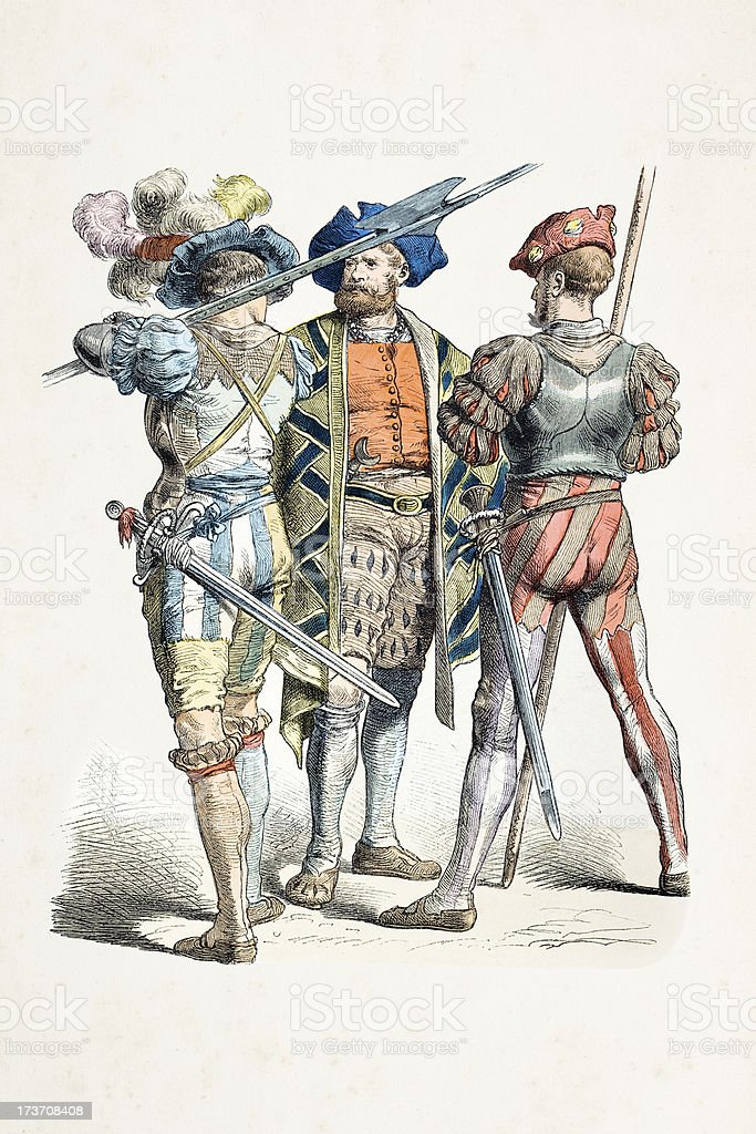 German nobleman soldiers with different costumes from 16th century royalty-free stock vector art