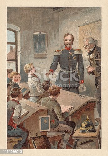 A German officer visits a school class. Nostalgic scene from the past. Chromolithograph after a drawing by Walter Zweigle (German painter, 1859 - 1904), published in 1895.