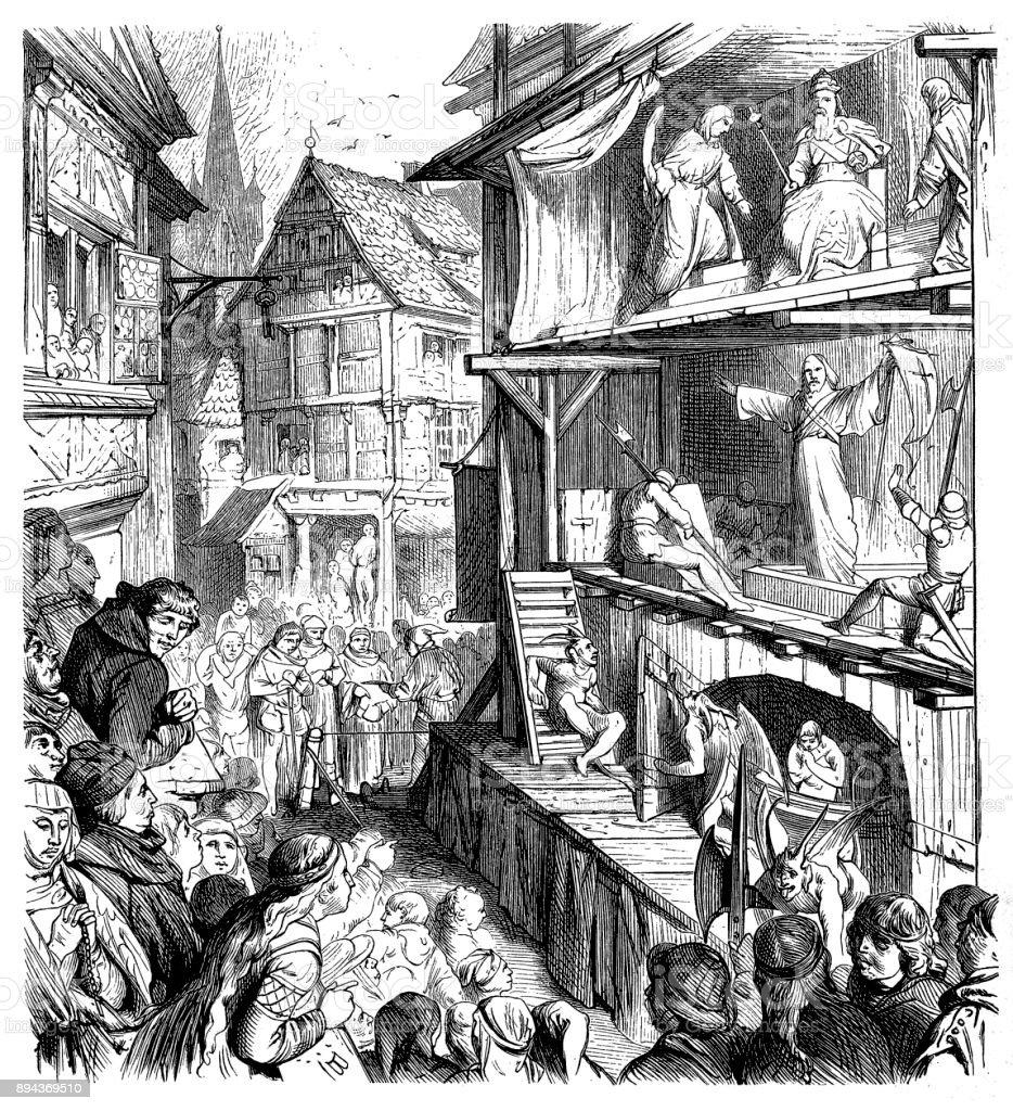German Passion Play vector art illustration