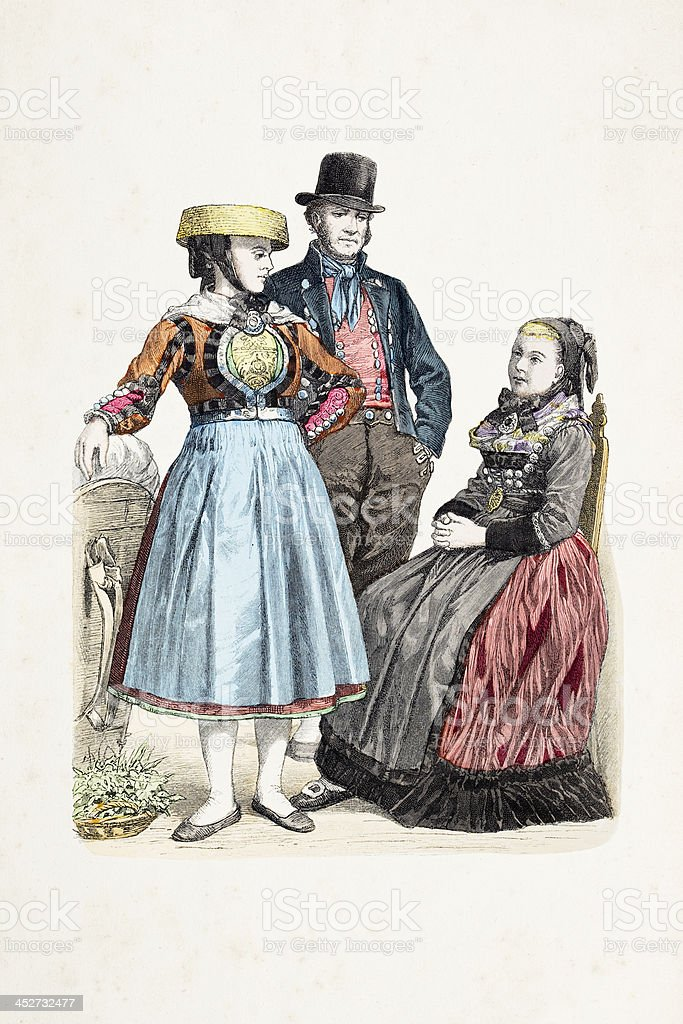 German people Hamburg Hannover in traditional clothing from 1870 royalty-free german people hamburg hannover in traditional clothing from 1870 stock vector art & more images of 19th century