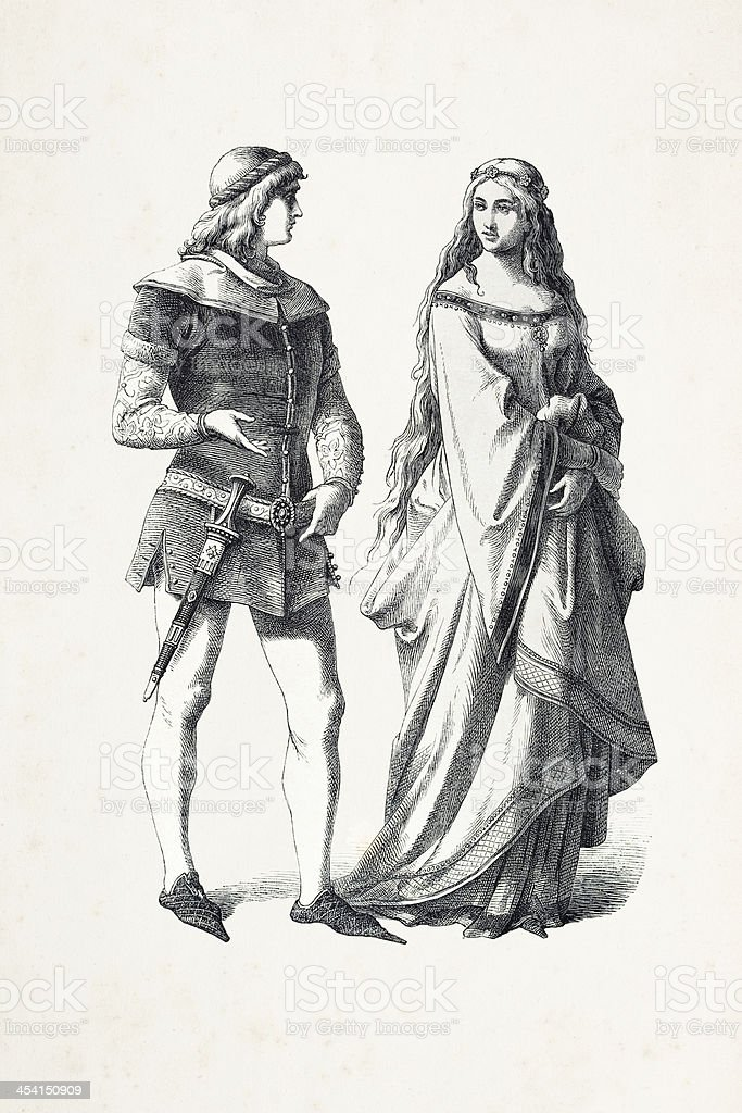 German prince and princess in traditional clothing 14th century royalty-free stock vector art