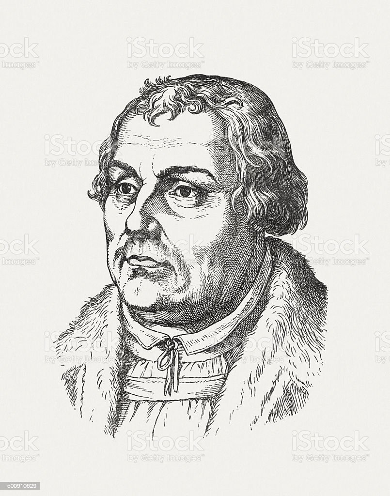 German reformator Martin Luther, wood engraving, published in 1871 vector art illustration