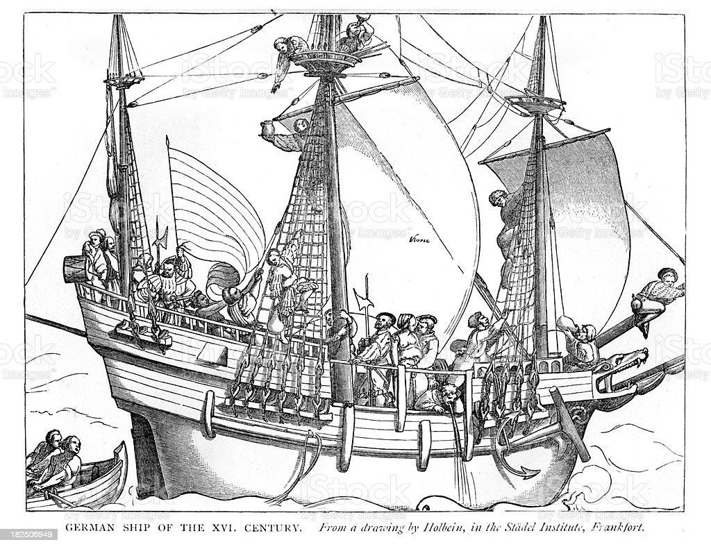 German ship of the 16th Century vector art illustration
