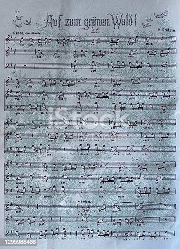 istock German song: Auf zum grünen Wald, Off to the green forest 1295988466