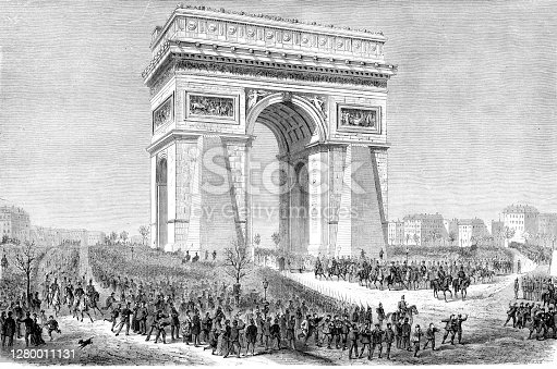 German troups entering Paris 1. March 1871 at Franco-German War Original edition from my own archives Source : Gartenlaube 1871 Drawing : F. W. Heine