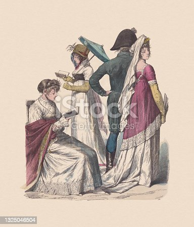 istock German-French costumes (1802-1804), hand-colored wood engraving, published ca. 1880 1325046504